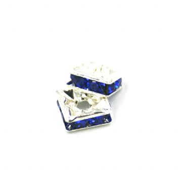 100pcs x 6mm Silver plated square rhinestone spacer bead with royal blue colour stone - 8010006